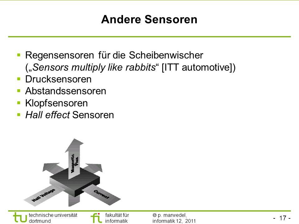 """Andere SensorenRegensensoren für die Scheibenwischer (""""Sensors multiply like rabbits [ITT automotive])"""